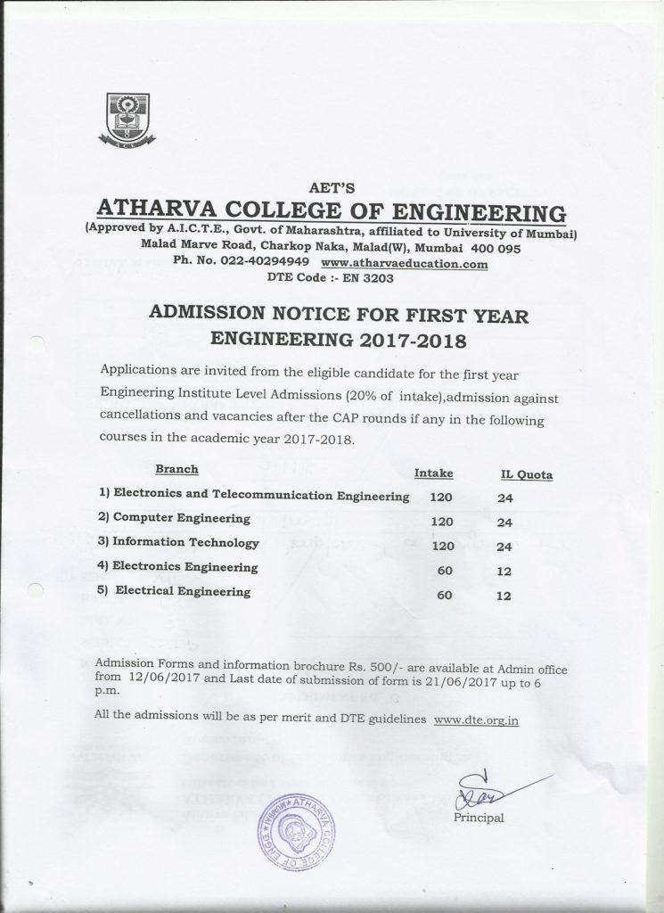 admission notice 17-18